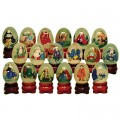 18 Mini Eggs with Stands Featuring Disciples of Buddha